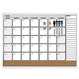 Quartet Combination Magnetic Whiteboard Calendar & Corkboard Value Pack, 17' x 23' Combo White Board & Cork Board, White Frame (44202-WT)