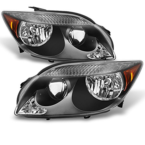 For Scion tC Black Front Headlights Head Lamps Driver Left + Passenger Right Side Replacement Pair Set