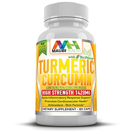 Premium Turmeric Curcumin Capsules By Maubi Health – 95% Curcuminoids Organic Herbal Dietary Supplement – Antioxidant & Anti-Inflammatory Action – Bioperine For Quick Absorption – 1420mg – 60 Caps