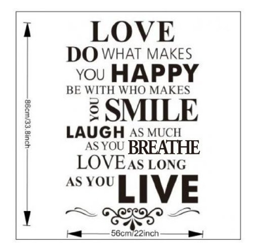 DIY Happy Live Laugh Love Smile Inspirational Quote Wall Paper Art Vinyl Decal Sticker