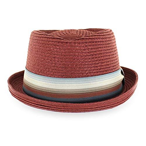 Belfry Men/Women Summer Straw Pork Pie Trilby Fedora Hat in Blue, Tan, Black (Maxxbrick, Large)