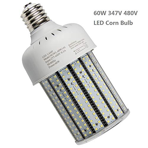 60W LED Corn Cob Bulb 347V 480Volt Replace 320Watt Metal Halide HID,CFL,HPS Retrofit Flood Fixture E39 Mogul Base,6000K Daylight White