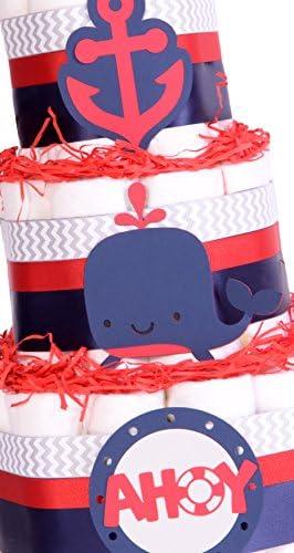 color azul marino rojo Cesta para pa/ñales de ducha chevr/ón gris Nautical Seaside