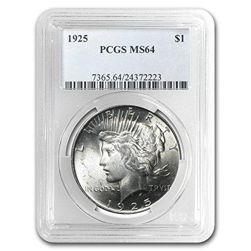 1925 Peace Dollar MS-64 PCGS $1 MS-64 PCGS (Peace Dollar Pcgs)