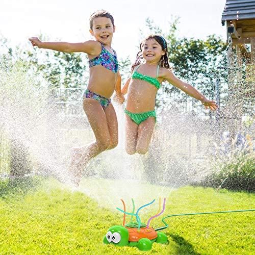 Kiztoys Outdoor Water Spray Sprinkler for Kids and Toddlers Backyard Spinning Turtle Sprinkler Toy Wiggle Tubes Splashing Fun for Summer Days Sprays Up to 8ft High - Attaches to Garden Hose