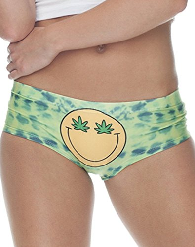 Knaughty Knickers Peace Love Pot Rave Festival wear Stoner Weed Black Thong hot