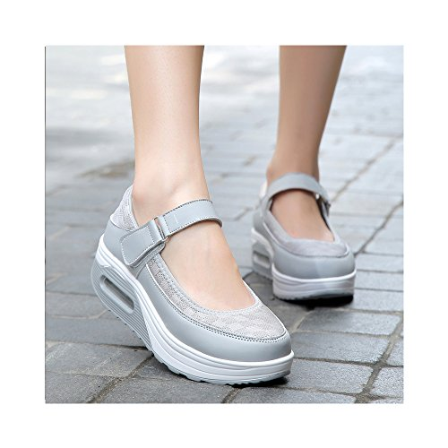 Femme Dame Ochenta Printemps Eté Chaussures Marche Air De Mode Sport Baskets Ballerines Plein Gris Confortable dA4Apw