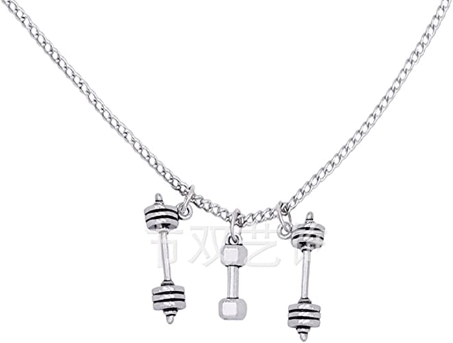 Initial Necklace Dumbbell Necklace Personalized Dumbbell Pendant Necklace Fitness Necklace Exercise Charm Exercise Gift Weightlifter Gift