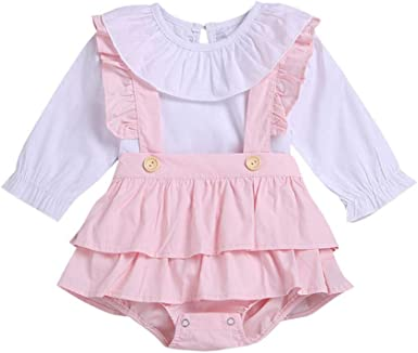 BOBORA Ropa Bebé Niñas, Camiseta de Manga Larga de Algodón con Overoles Pantalones Cortos: Amazon.es: Ropa y accesorios