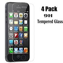 [4-Pack] iPhone 5S/SE/5C/5 Screen Protector,iBarbe iPhone Se Glass Screen Protector,Transparent Tempered Glass Screen Protector Film 9H hardness(0.26mm HD Ultra Clear)