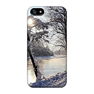 Excellent Design A River -winter Phone Case For Iphone 5/5s Premium Tpu Case