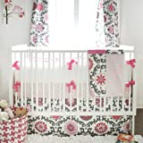 New Arrivals Ragamuffin Pink 3 Piece Crib Bedding Set, Grey