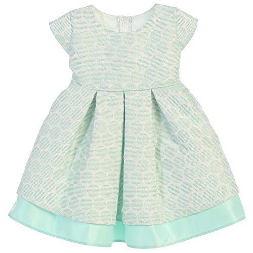 - Sweet Kids Baby Girls Mint Polka Dot Pleated Jacquard Satin Easter Dress 6M