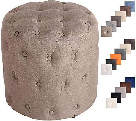 Pouf Puf Pouf Puff Sgabello Poggiapiedi Tondo In Tessuto Legno Design Colori