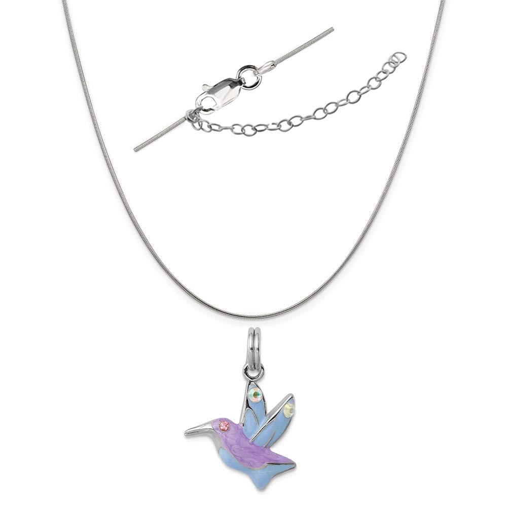 LavaFashion Sterling Silver Hummingbird Charm Necklace 18