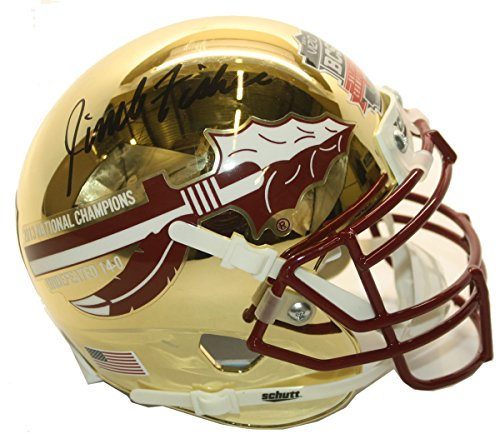 Jimbo Fisher Autographed 2013 National Champions Gold Chrome Mini Helmet