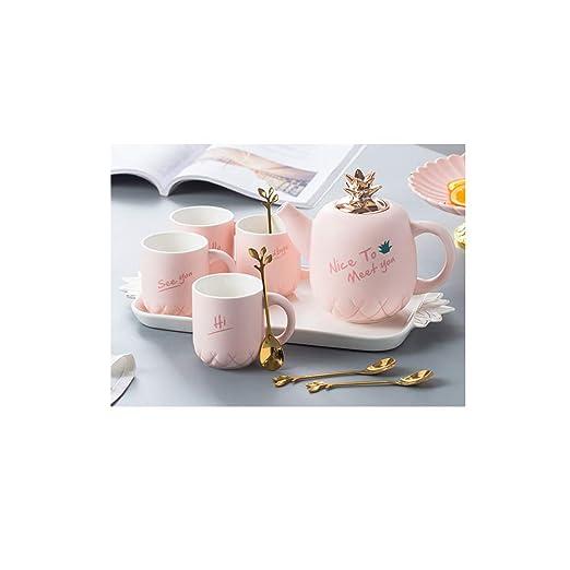 Juego de té de cerámica europea, tetera con diseño de flores ...