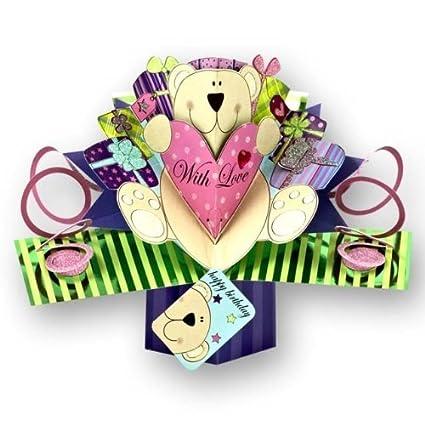 Amazon Com Pop Up Teddy Bear Birthday Card Birthday Greeting