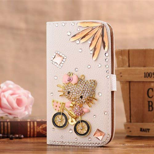 Wendy's Stores(TM) White Luxury 3D Fashion Handmade Bling Crystal Rhinestone PU Flip Wallet Leather Case Cover for Smart Mobile Phones (Samsung Galaxy note 2, Hello Kitty Ride Bike)
