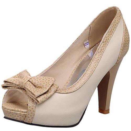 Sandalias Slip Beige zapatos con altos Tacones Toe los Confort oficina de en TAOFFEN Peep Mujeres Bowknot w0qngpqY