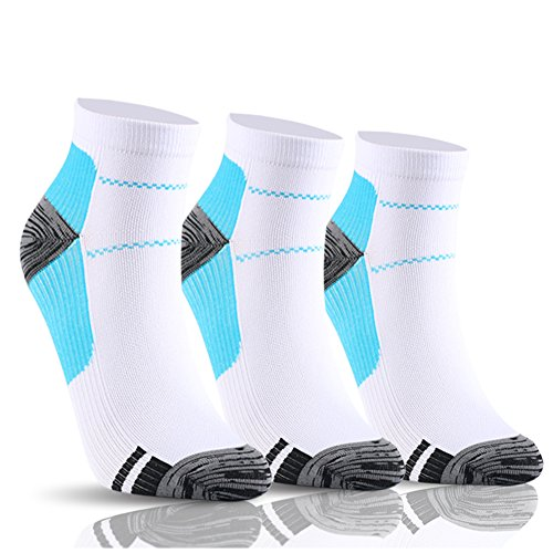 YOLIX Compression Socks for Women & Men 15-20 mmHg - 3 Pairs - Best Compression Ankle Socks for Athletic, Running, Medical, Pregnancy, Crossfit, Travel, Shin Splints (Blue, Large/X-Large)