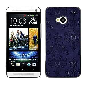HTC One M7 - Metal de aluminio y de plástico duro Caja del teléfono - Negro - Halloween Purple Pattern