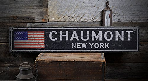 CHAUMONT, NEW YORK - Rustic Hand-Made Vintage Distressed Wooden US Flag Sign - 7.25 x 36 Inches