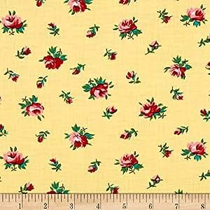 Verna Mosquera Fruta y Flor Cinderella Rosebud Lemon Fabric By The Yard