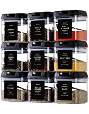 Spice Containers with Labels - 9 Pcs Large Plastic Tea Storage Containers with 148 Spice Labels and 9 Spoons - Square Airtight Food Containers Set with black Lids for Kitchen Pantry Herbs,Coffee,Seasoning Organization