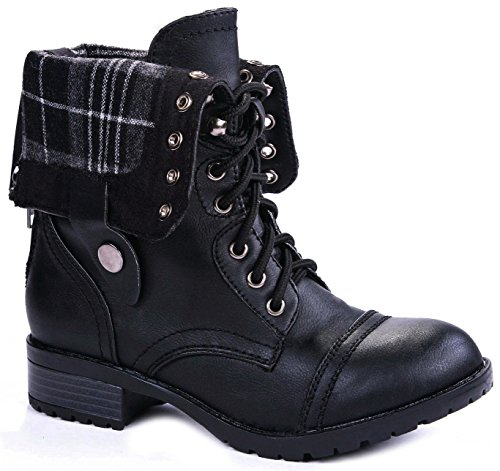 JJF Shoes H-7 Black Military Combat Plaid Foldable Cuff Faux Leather Back Zipper Lace up Boots-8.5 - Sole Combat Boots