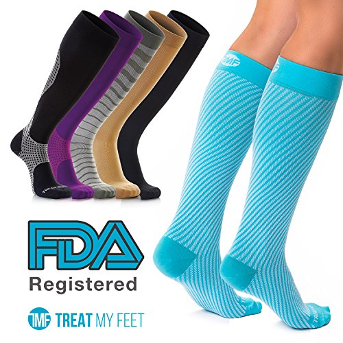 Compression Socks for Women, Running Gear for Women, Running Accessories, Athletic Near Seamless fit, Breathable Nylon and Spandex Graduated Womens Knee-High Compression Stockings, Great for Nurses (Lycra Womens Stocking)