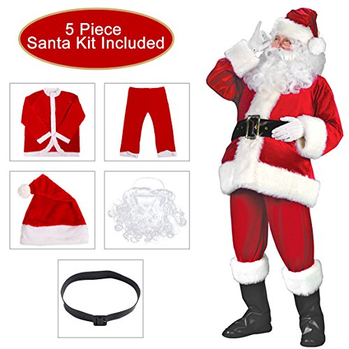 Besteamer Santa Claus Christmas Suit Costume Set For Party Cosplay Red Santa Costumes