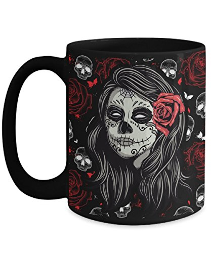 SUgar Skull Rose Skull Coffee Mug