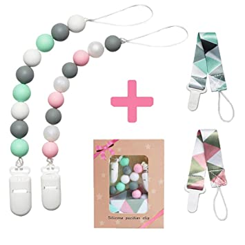 100/% BPA Free Silicone Beads Star Teether Beads Binky Holder for Newborn Teething Toy- Infa nt Baby Teething Beads (Pink Pacifier Clip for Baby