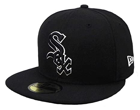 9a5dc5cf37d Amazon.com   New Era 59fifty Hat Chicago White Sox Black White Cap ...