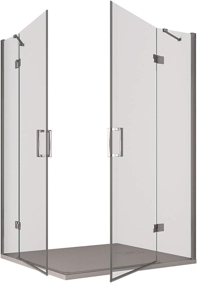 Olimpo - Mampara de Ducha Angular H195 con Doble Puerta batiente Transparente, 8 mm: Amazon.es: Hogar