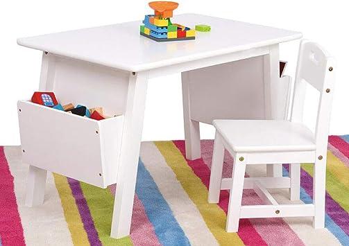 SSHHM Juego de mesa y silla para niños,con Caja de Almacenamiento,de Madera Maciza,Mesa de estudio Durante Más de 2 Años de Edad Los Niños Y Niñas Estable/blanco/table+chair: Amazon.es: Bricolaje y herramientas