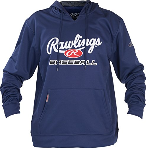 Rawlings Youth Team Jackets - Rawlings Unisex Rawlings Youth Fleece Baseball Hoodie, Navy/White, X-Large