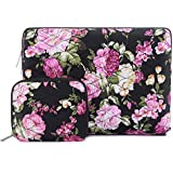 MOSISO 360° Protective Laptop Sleeve Bag Compatible 13-13.3 Inch MacBook Air, Old MacBook Pro Retina 2012-2015, iPad Pro 12.9 with Small Case, Shockproof Canvas Ripple Pattern Tablet Cover, Peony