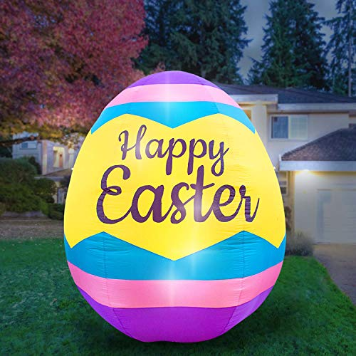 (Holidayana 8 Foot Inflatable Easter Egg Decoration, Includes Built-in Bulbs, Tie-Down Points, and Powerful Built-in)
