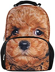 Bigcardesigns Animal 3D Dog Print School Bag Backpack for Teens Students