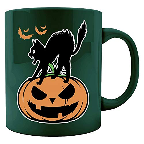 Black Cat on Halloween night scary pumpkin funny Gift - Colored Mug