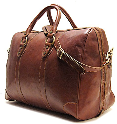 (Floto Roma Duffle Saddle Brown Italian Leather Weekender Travel Bag)