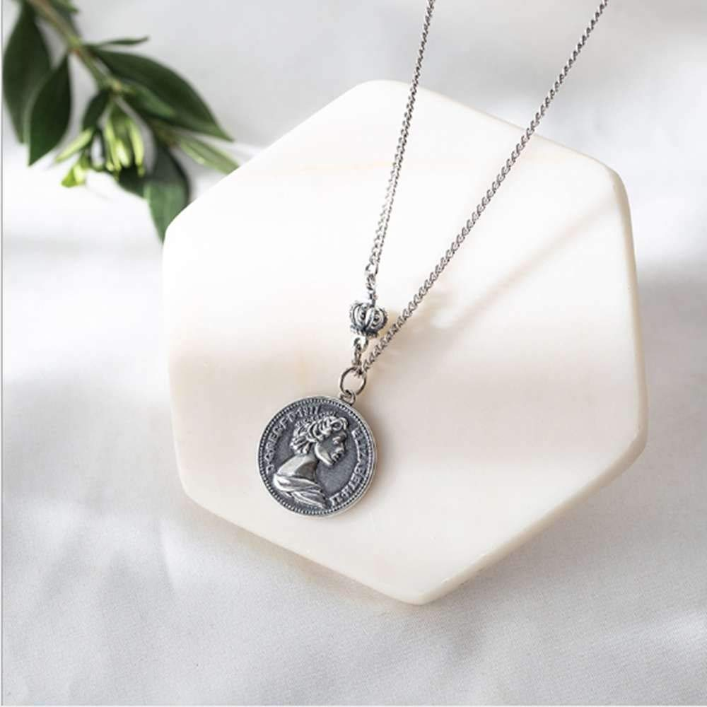 SONGBB necklace Fashion Thai Silver Vintage Crown Coin Necklace Female