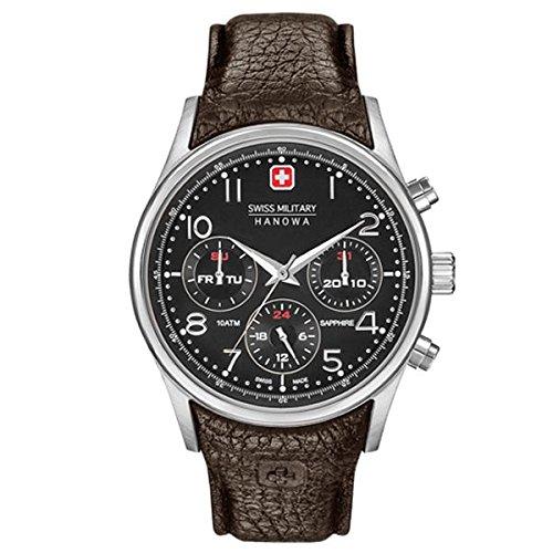 69fe6ce5c5a5 Swiss Military Hanowa Reloj Cronógrafo para Hombre de Cuarzo con Correa en  Cuero SM06-4278-04-007  Amazon.es  Relojes