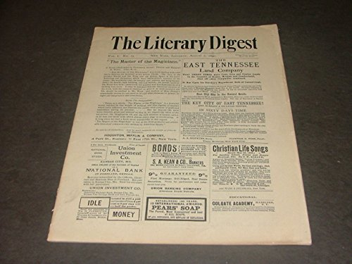 Literary Digest Augsut 2, 1890 Election Laws, Hypnotism, Press Government