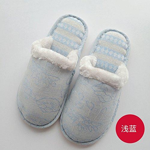 les Chine Lotus hiver épais coton et femme 42 d'un pour lin en 43 l'intérieur Chaussons de couple automne d'intérieur Bleu à coton 39 vent foyer hommes 40 pieds des chaussons fqtP8T