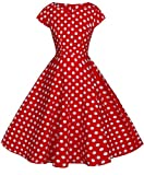 FAIRY COUPLE Vintage Rockabilly Cap Sleeves Prom Dress DRT019(S, Red White Dots)