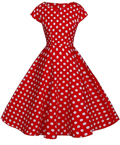 FAIRY COUPLE Vintage Rockabilly Cap Sleeves Prom Dress 3XL Red White Dots