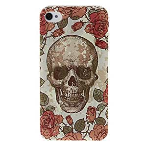 GOG- Red Rose and Skull Pattern Plastic Hard Case for iPhone 4/4S